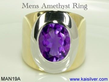 Mens Amethyst Ring Sterling Silver Or Gold Amethyst Gemstone Ring