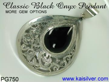 Silver onyx pendant classic antique style pendants custom made 925 antique style silver onyx gem stone pendant the table below shows gem options this is a very artistic design based on ancient thai jewelry aloadofball