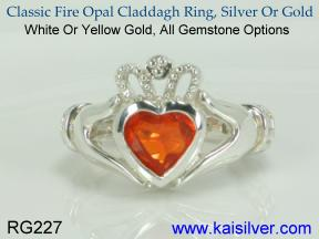 claddagh birthstone ring fire opal
