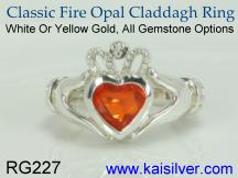 Birth stone claddagh ring with fire opal gem stone