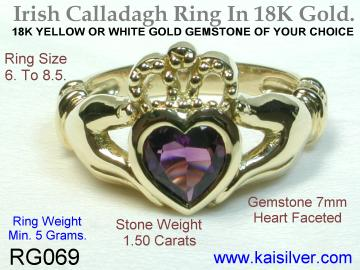 Amethyst Claddagh Ring