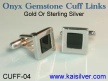 Gemstone cuff links men's sterling silver