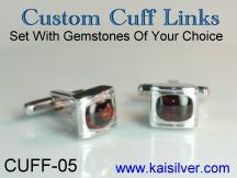 custom cufflink with birthstone