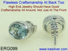 Custom Made White Gold Gemstone Earrings