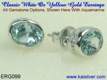 Aquamarine Earrings White Or Yellow Gold.
