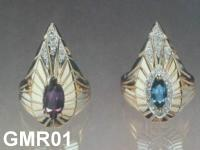 Big Gold Ring With Amethyst Or Blue Topaz