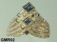 Big Ring With Blue Sapphire Or Other Gemstone