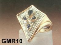 Big Blue Sapphire Gold Ring