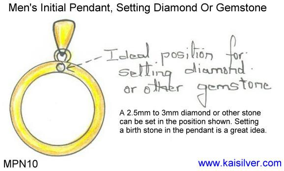 setting a gem stone or diamond in your initial men's pendant