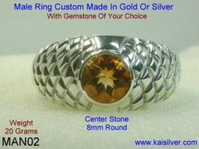 Citrine Ring For Men.
