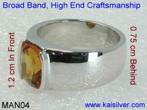 White Gold Gemstone Rings For Males