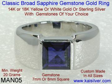 Men's Sapphire Gemstone Gold Ring