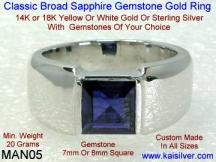 male ring, sapphire with white or yellow gold