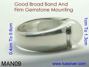 custom man sterling silver ring with moonstone