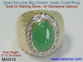 Custom Gents Ring With Jade Gem Stone