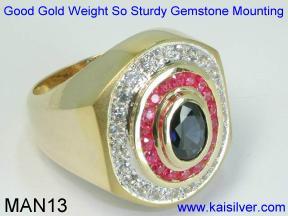 Custom Male Gem Stone Ring
