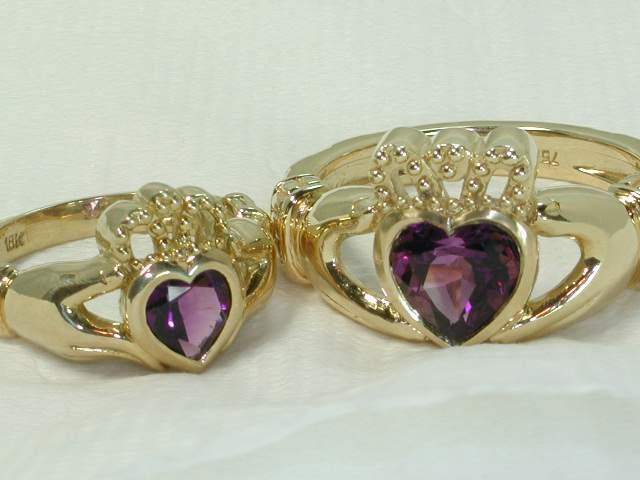 Gemstone claddagh rings for men