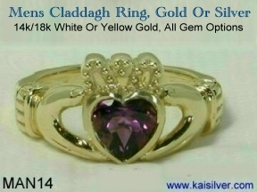 Custom men's jewellery, Male Irish claddagh ring