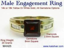 l'or de grenat sonne pour les hommes, avec des diamants