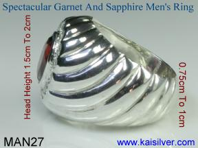Garnet men's ring