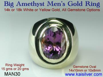 Men's Amethyst Gemstone Ring