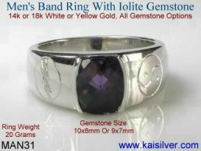 man gemstone ring with iolite