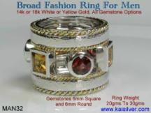 Man fashion ring with gemstones