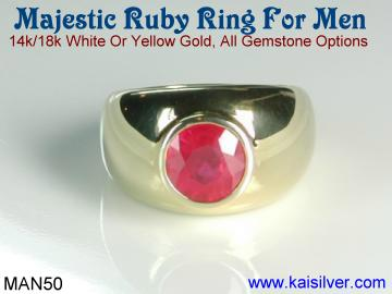 custom man gold ring with ruby.