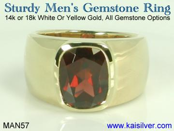 birthstone man ring, garnet birth stone ring in gold or sterling silver