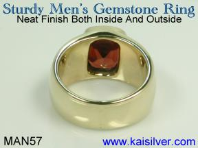 birthstone man ring white gold or yellow gold