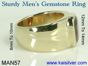 birth stone man ring big gem stone
