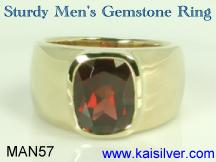 Man garnet gem stone ring