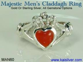 mens claddagh rings, custom gold or 925 silver claddagh rings for men