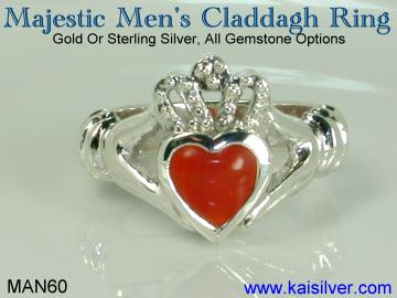 Claddagh gemstone jewelry, Men's Claddagh ring made to order