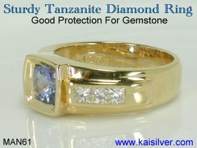 yellow or white gold men's tanzanite ring