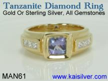 man gold tanzanite gem stone ring with diamond