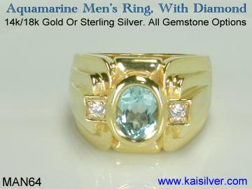 Man aquamarine gemstone ring
