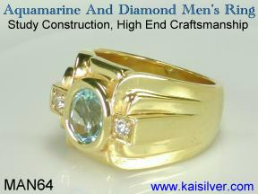 Gent's gem stone ring with aquamarine
