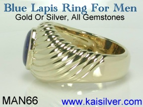gold lapis ring for men, 14k or 18k lapis rings made to order