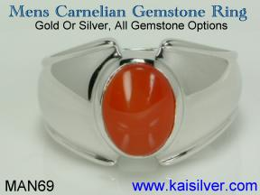 mens ring with carnelian gem stone, gold or silver carnelian ring