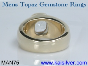 mens topaz ring, white topaz ring for men gold or 925 silver