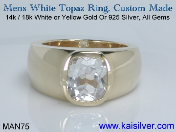 mens white topaz ring, kaisilver rings for men