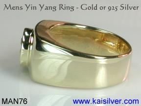 kaisilver mens rings, custom yin yang ring for men