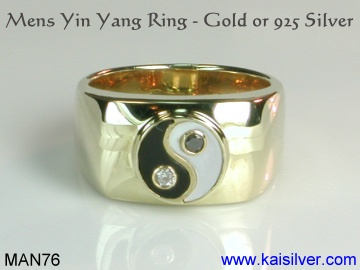 mens yin yang ring gold or 925 sterling silver yin yang rings