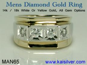 mens diamond two tone gold ring