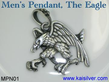 silver men's pendant, the eagle silver man pendant