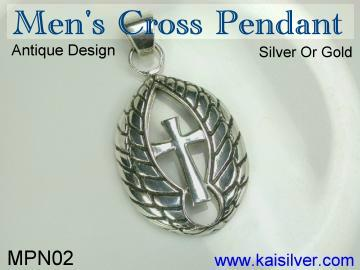man cross pendant, sterling silver or gold
