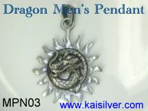 sterling silver men's pendant dragon