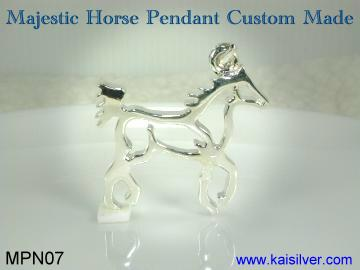 Men's sterling silver pendant, horse pendant for men