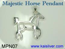 man silver pendant, horse pendant for men